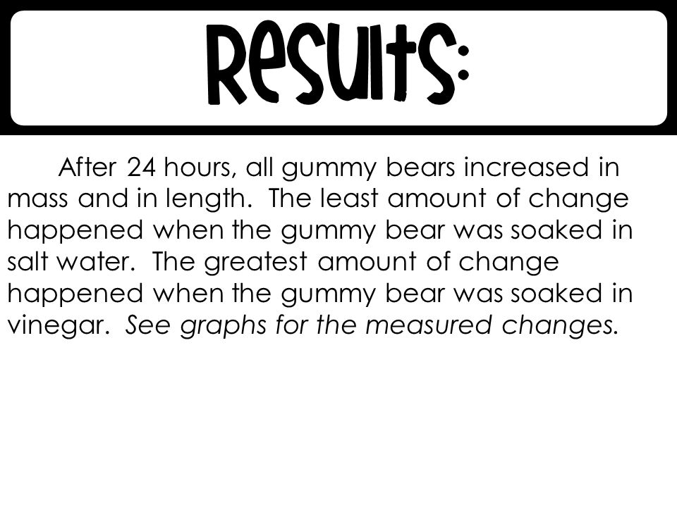 After 24 hours, all gummy bears increased in mass and in length