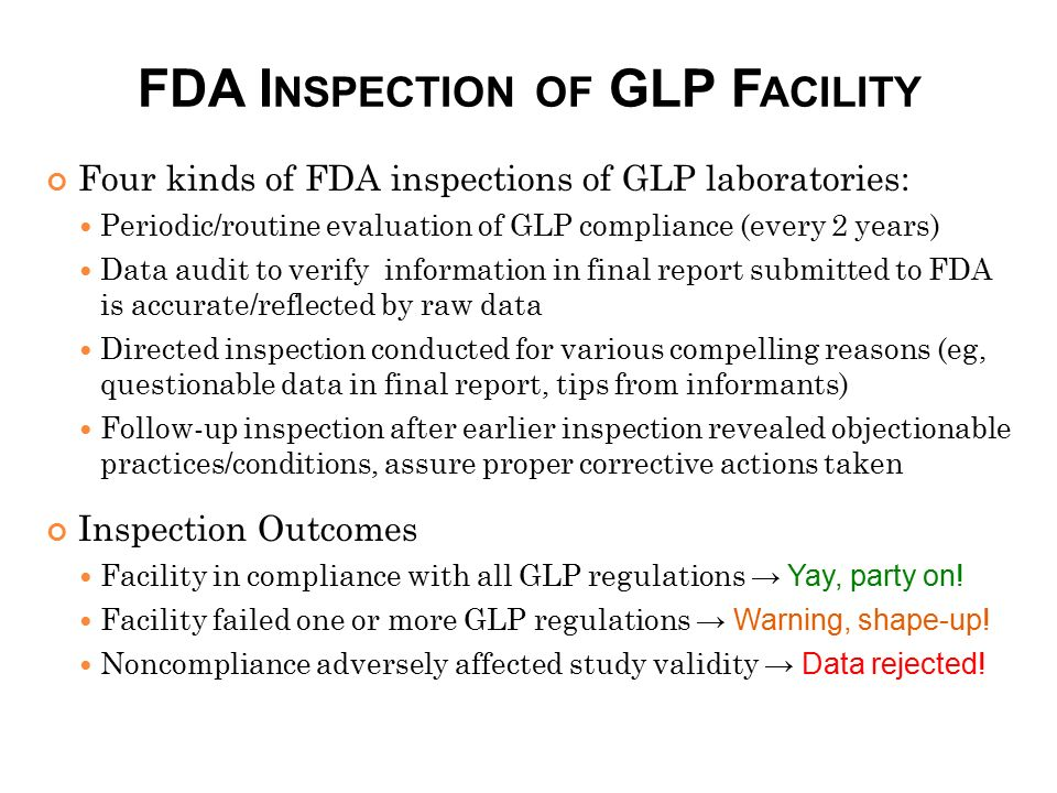 FDA Inspection of GLP Facility