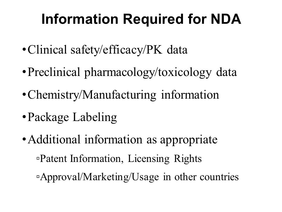Information Required for NDA
