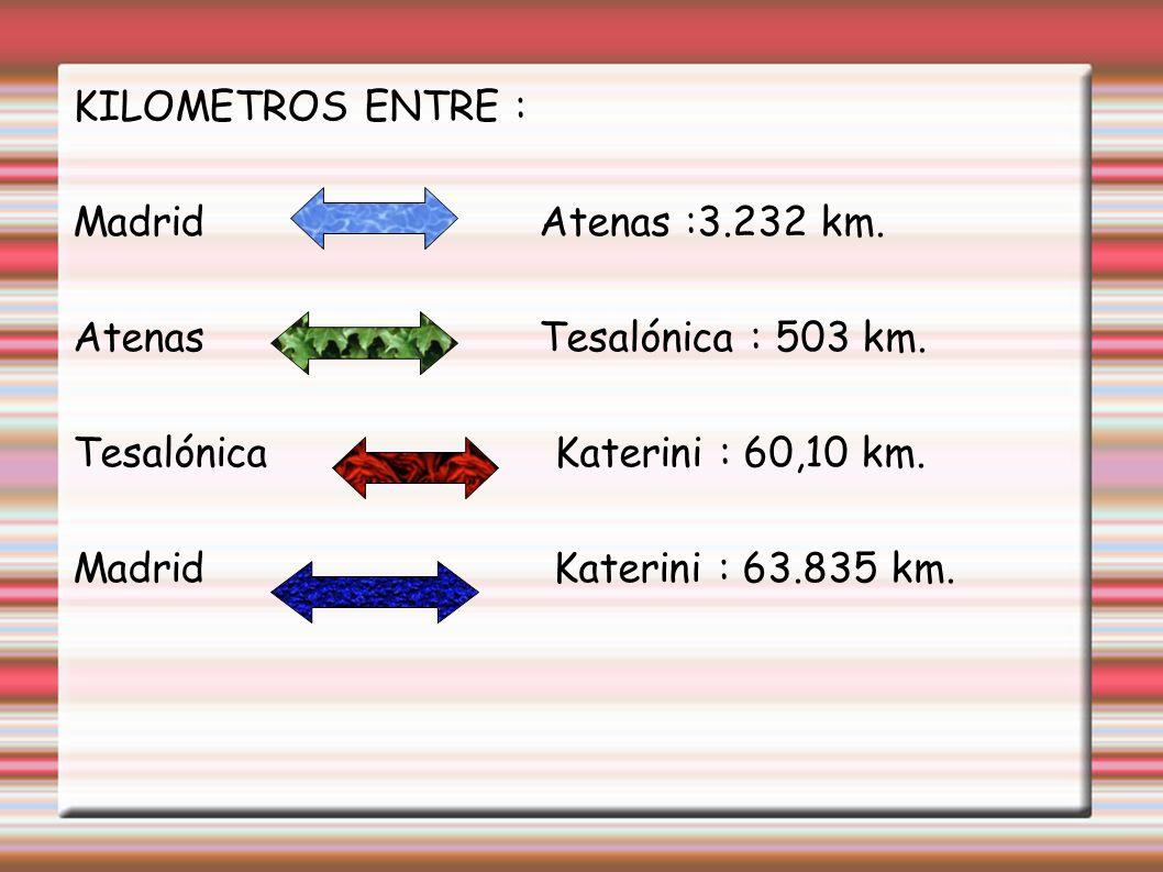 KILOMETROS ENTRE : Madrid Atenas :3.232 km. Atenas Tesalónica : 503 km.