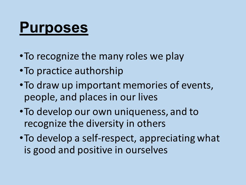 Purposes To recognize the many roles we play To practice authorship