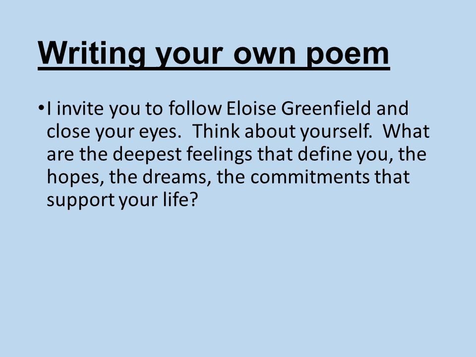 Writing your own poem