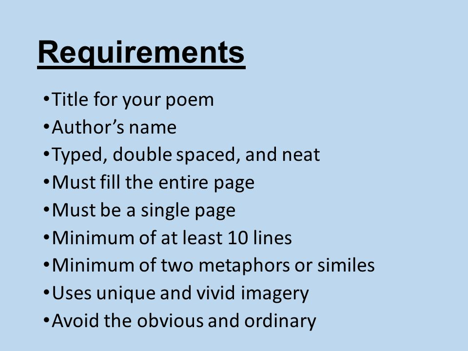 Requirements Title for your poem Author's name
