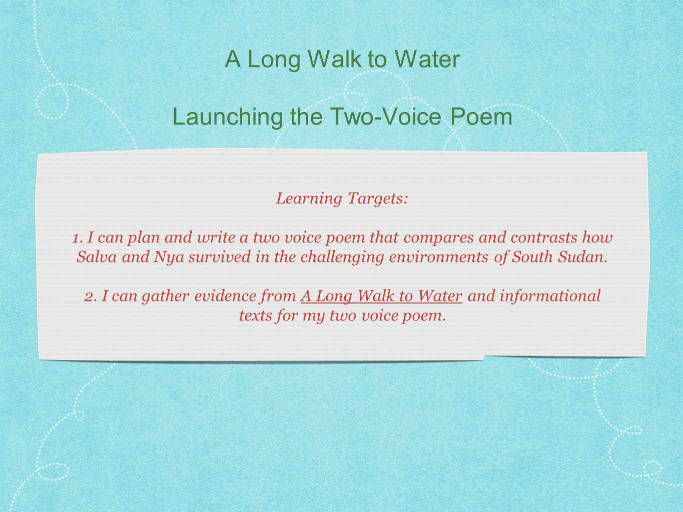 Essay on a long walk to water