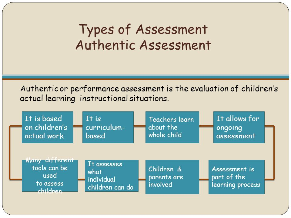 types of assessment Summative assessments are design to measure student achievement at end of instruction these types of assessments evaluate student learning at the end of a project.