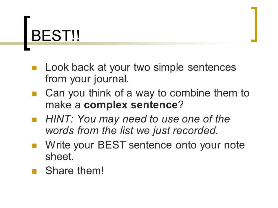 Combined Sentence Examples