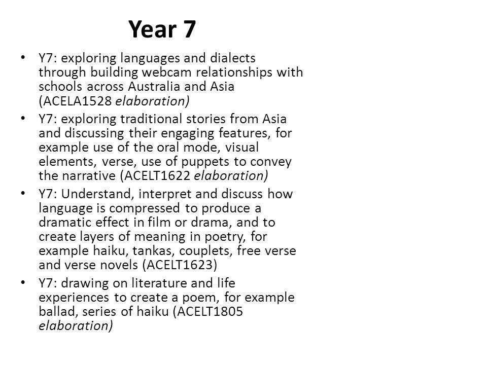 Year 7 Y7: exploring languages and dialects through building webcam relationships with schools across Australia and Asia (ACELA1528 elaboration)
