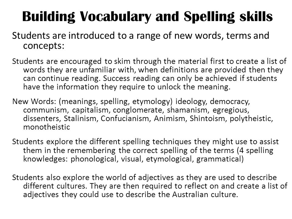 Building Vocabulary and Spelling skills