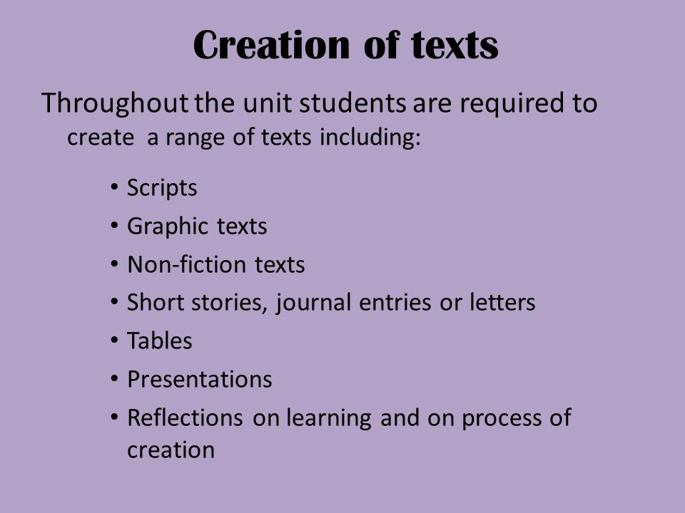 Creation of texts Throughout the unit students are required to create a range of texts including: Scripts.