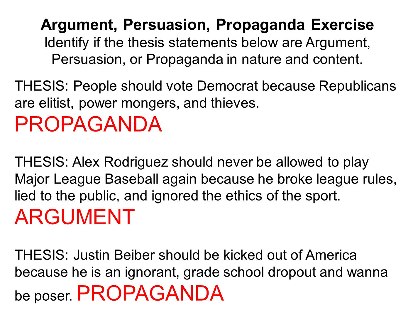 propaganda thesis statements