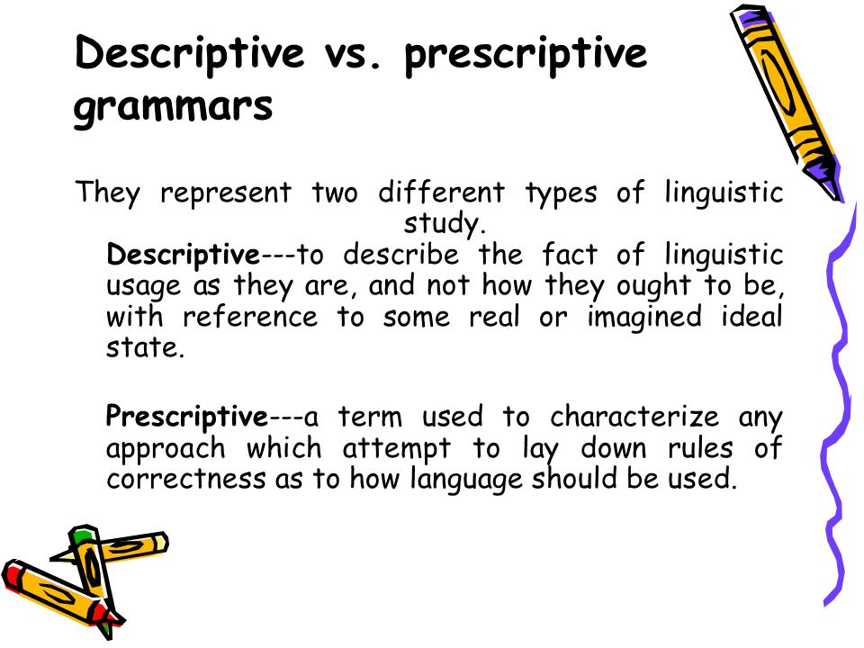 prescriptive vs descriptive essay Below is an essay on prescriptive vs- descriptive grammar from anti essays, your source for research papers, essays, and term paper examples prescriptive and descriptive grammar - comparison grammar is the art of using the language properly in its spoken and written forms.