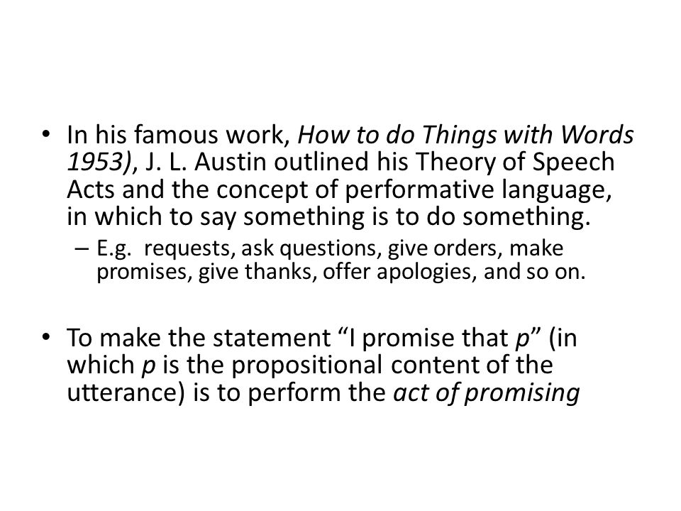 performative speech acts in advertising In a (s)word against babylon, holroyd proposes a multilevel speech act approach and demonstrates it with the oracle against babylon in mt jeremiah this study endeavors to expand the works of walter houston, jim adams, and steven mann by further exploring indirect speech acts, illocutionary compatibility, and studies of the performative nature.