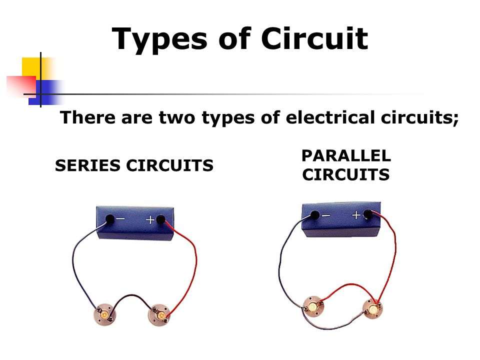 Types of Circuit There are two types of electrical circuits;