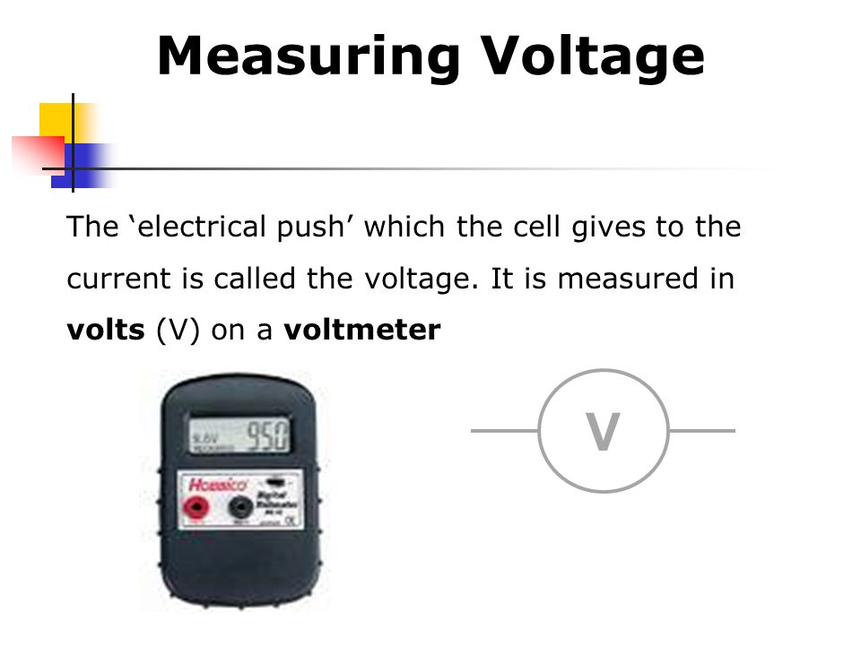 Measuring Voltage The 'electrical push' which the cell gives to the current is called the voltage. It is measured in volts (V) on a voltmeter.