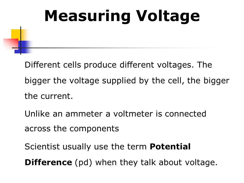 Measuring Voltage Different cells produce different voltages. The bigger the voltage supplied by the cell, the bigger the current.