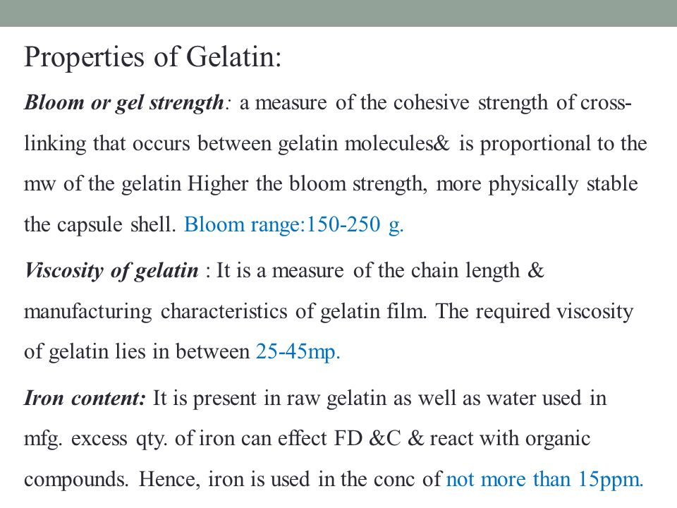 bloom strength of soft gelatin