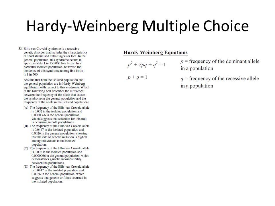 Hardy-Weinberg Multiple Choice