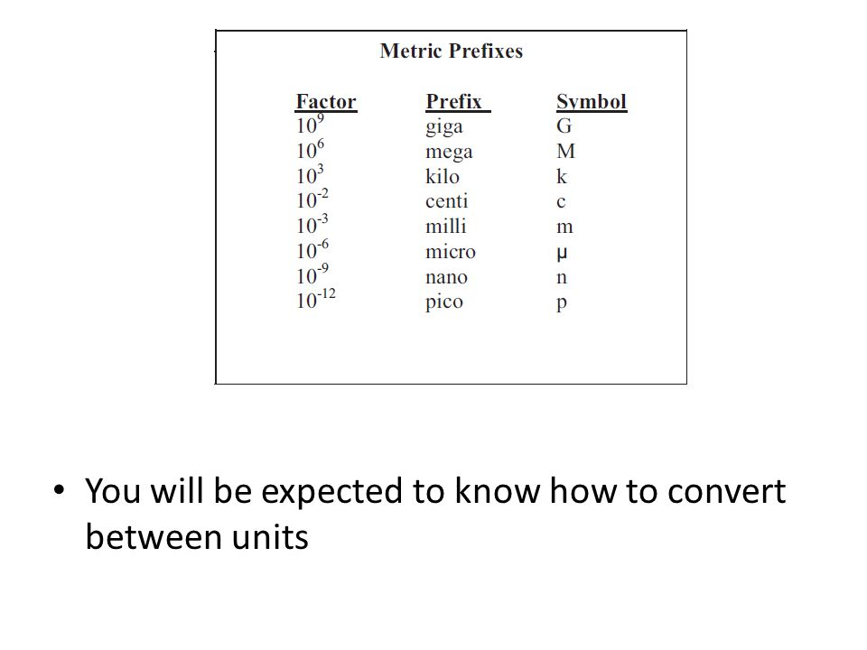 You will be expected to know how to convert between units