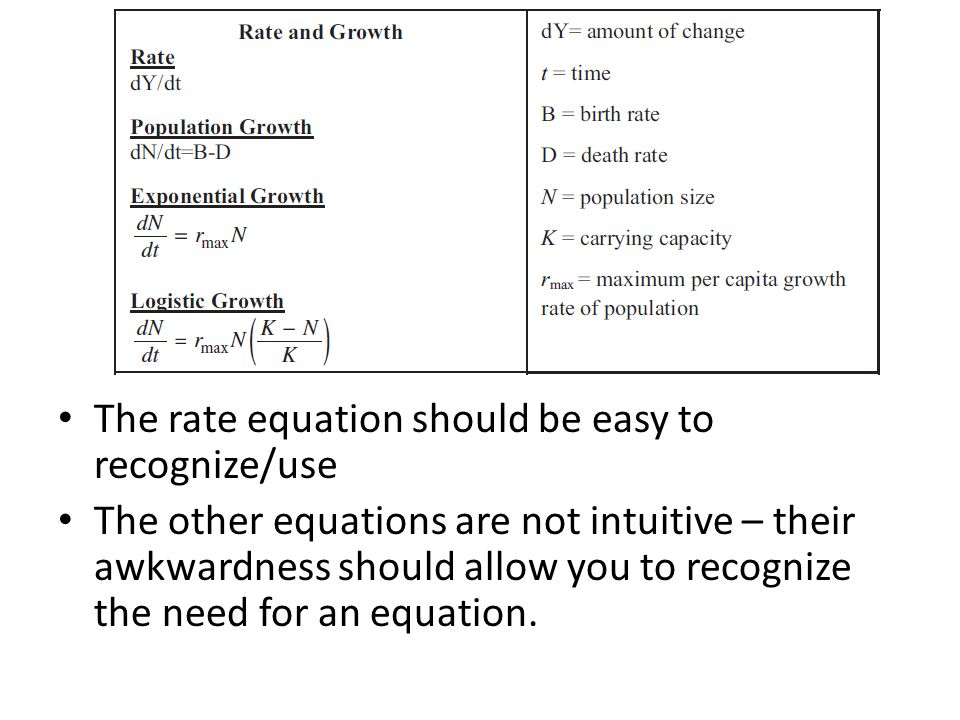 The rate equation should be easy to recognize/use