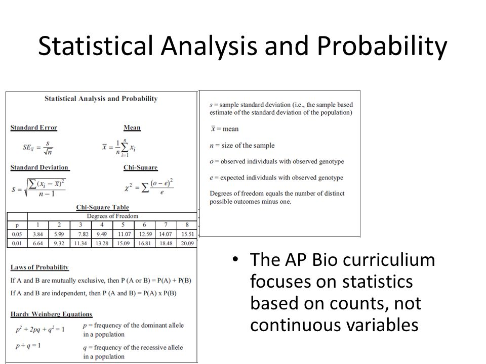 Statistical Analysis and Probability