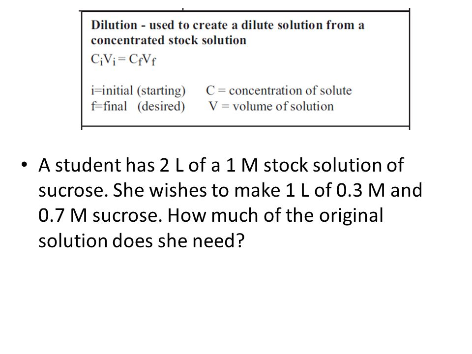 A student has 2 L of a 1 M stock solution of sucrose