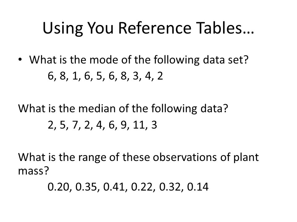 Using You Reference Tables…