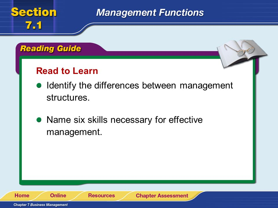 Read to Learn Identify the differences between management structures.