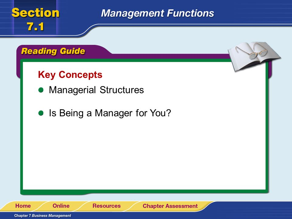 Key Concepts Managerial Structures Is Being a Manager for You