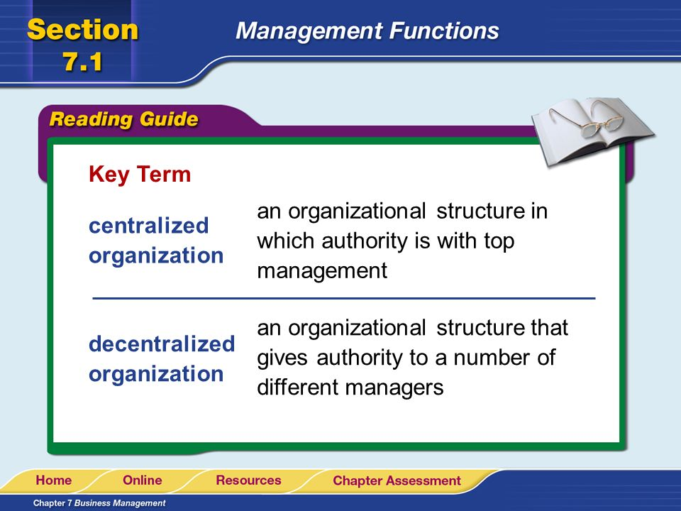 Key Term an organizational structure in which authority is with top management. centralized organization.