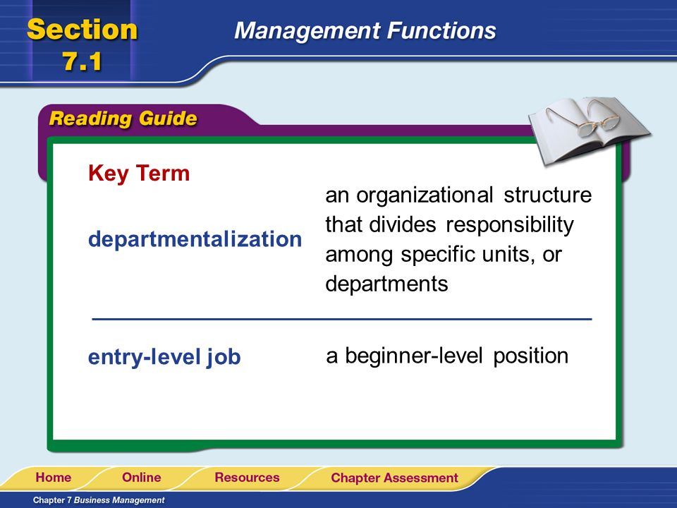 Key Term an organizational structure that divides responsibility among specific units, or departments.