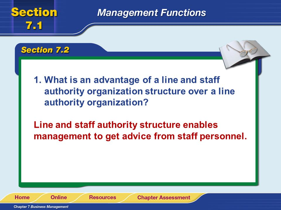 What is an advantage of a line and staff authority organization structure over a line authority organization