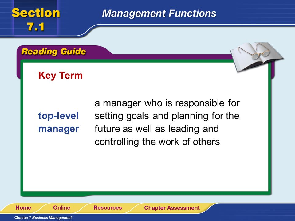 Key Term a manager who is responsible for setting goals and planning for the future as well as leading and controlling the work of others.