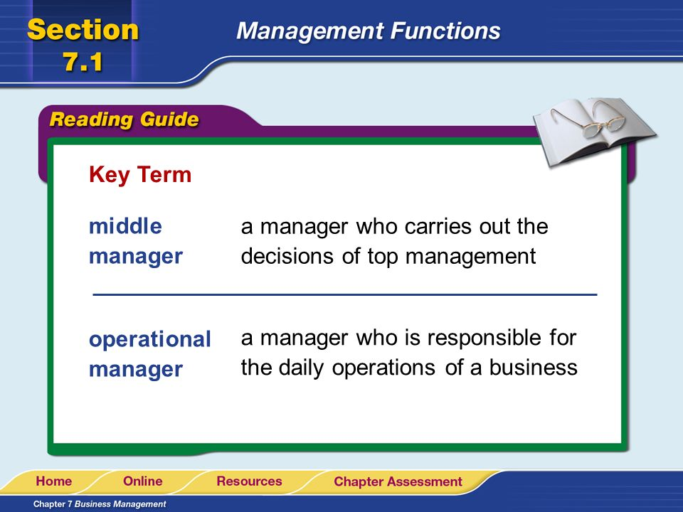 Key Term middle manager. a manager who carries out the decisions of top management. operational manager.