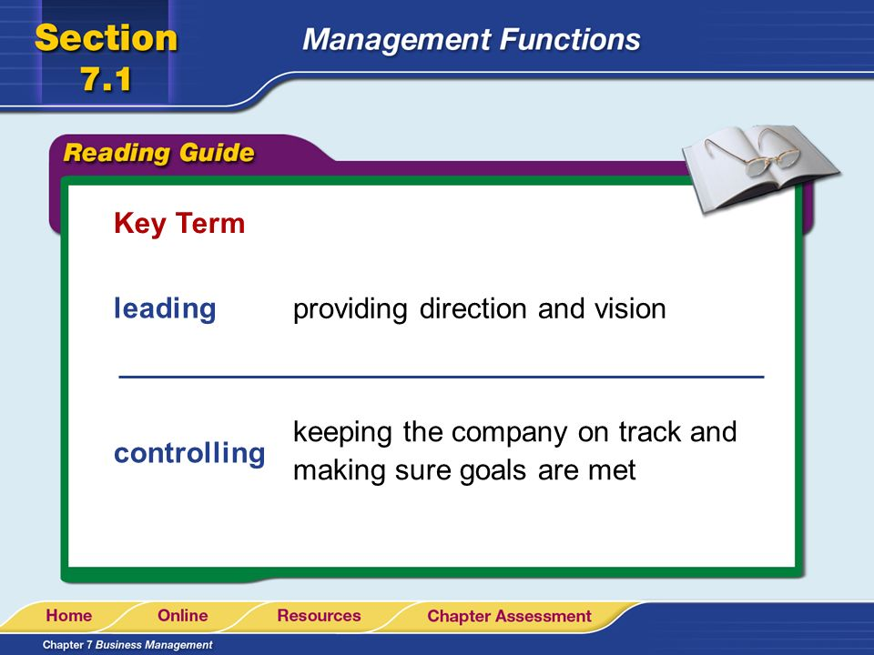 Key Term leading. providing direction and vision. keeping the company on track and making sure goals are met.