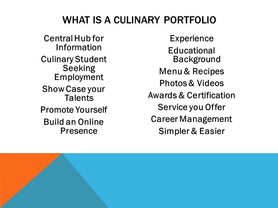 Culinary Arts Student Portfolio - ppt download