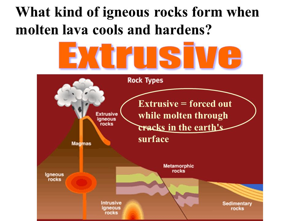 What kind of igneous rocks form when molten lava cools and hardens