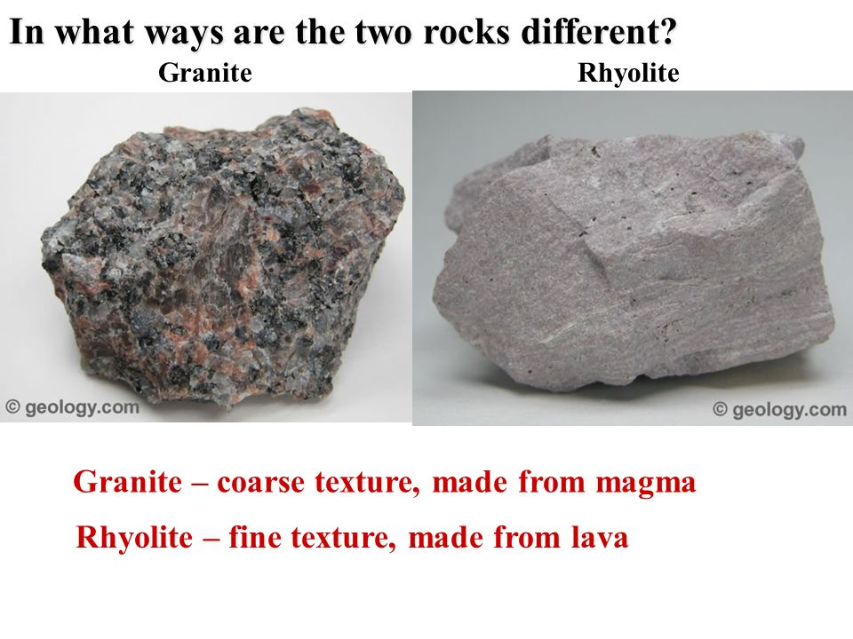 In what ways are the two rocks different