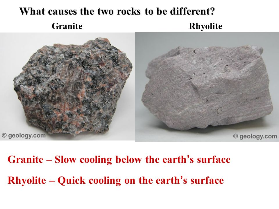 What causes the two rocks to be different
