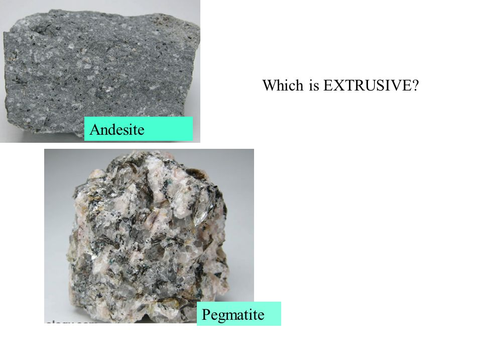 Which is EXTRUSIVE Andesite Pegmatite