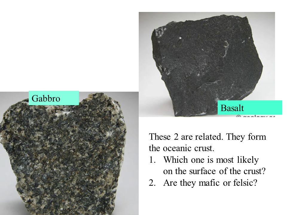 Gabbro Basalt. These 2 are related. They form the oceanic crust. Which one is most likely on the surface of the crust