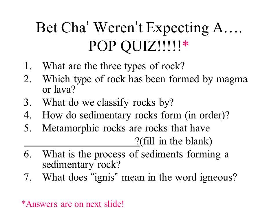 Bet Cha' Weren't Expecting A…. POP QUIZ!!!!!*