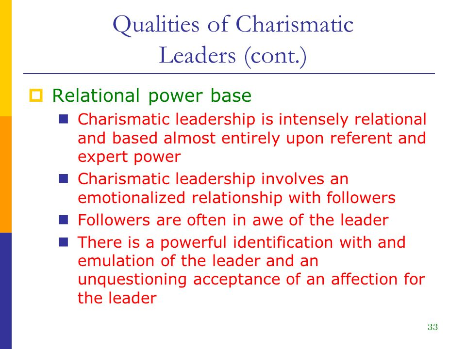 traits of a charismatic leader In contrast to the current popular use of the term charismatic leader, weber saw charismatic authority not so much as character traits of the charismatic leader but as a relationship between the leader and his followers the validity of charism is founded on its recognition by the leader's followers (or adepts - anhänger.