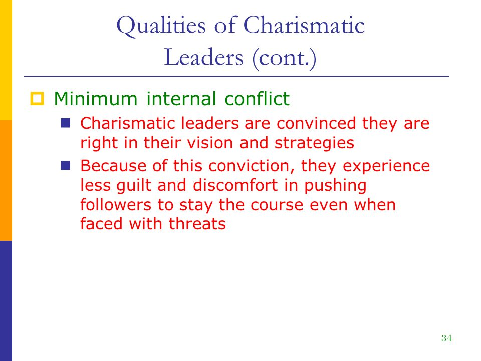 characteristics of a charasmatic leader Read this essay on characteristics of a charasmatic leader come browse our large digital warehouse of free sample essays get the knowledge you need in order to pass your classes and more.