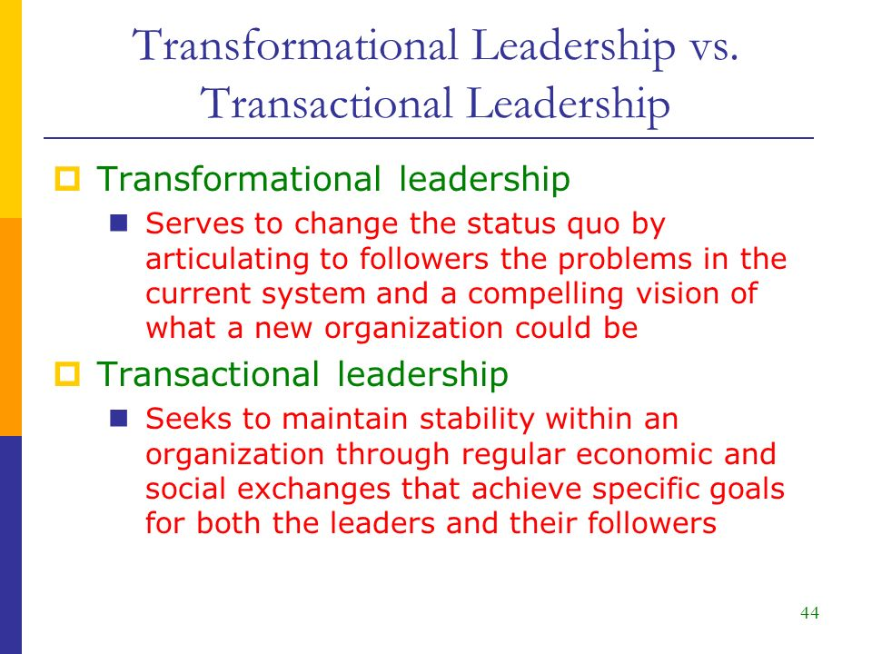 transformational versus transactional leadership Difference between transactional and transformational leadership july 21, 2015 by surbhi s 1 comment leadership is a trait of influencing the behavior of individuals, in order to fulfill organizational objectives.