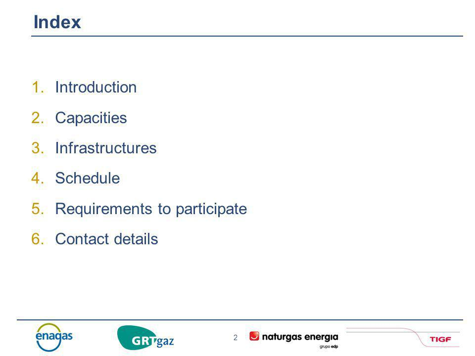 Index Introduction Capacities Infrastructures Schedule