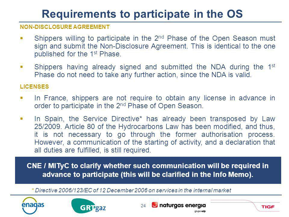 Requirements to participate in the OS