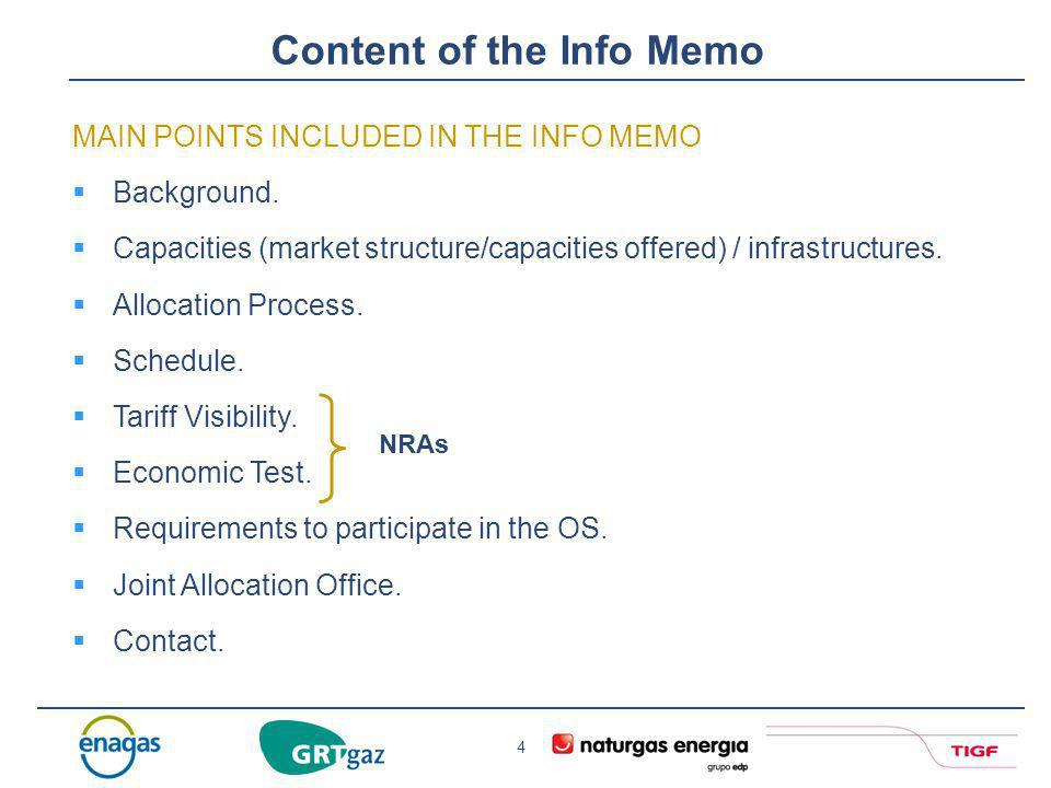 Content of the Info Memo