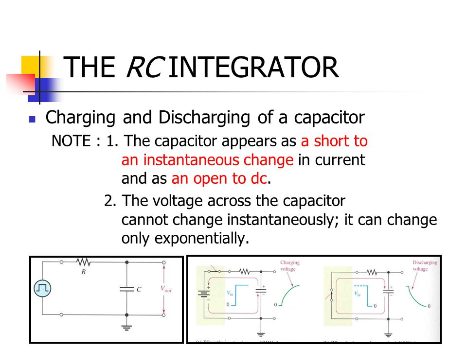 THE RC INTEGRATOR Charging and Discharging of a capacitor