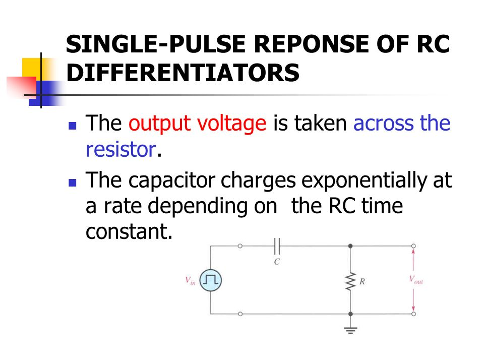 SINGLE-PULSE REPONSE OF RC DIFFERENTIATORS
