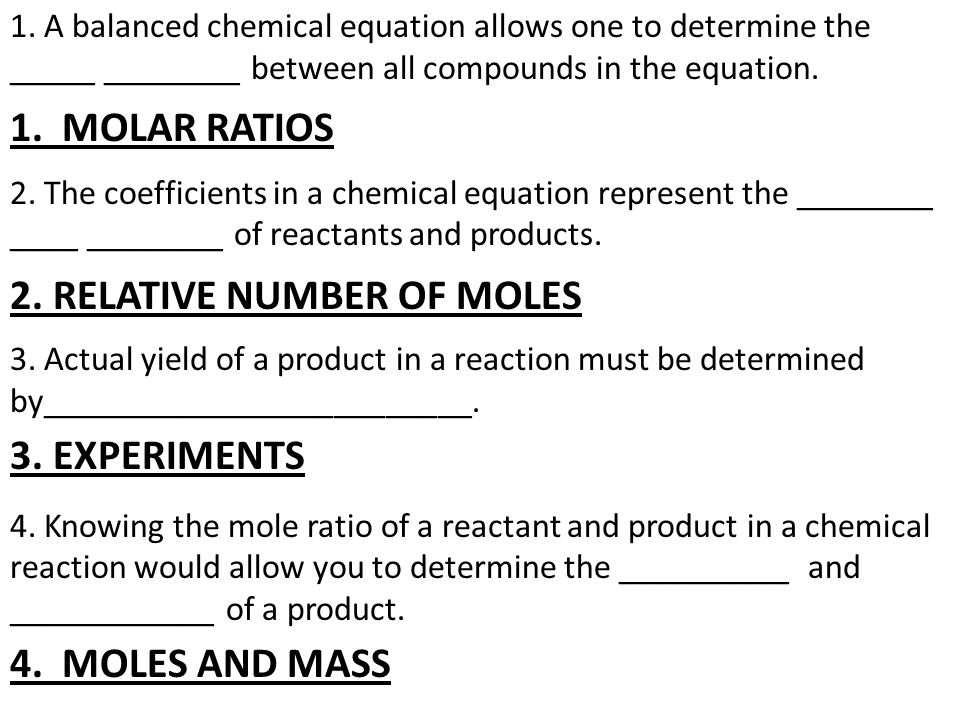 determining the mole ratios in a chemical reaction essay